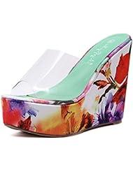NobS Ladioes Mujeres Moda Verano Pendiente BotíN Sandalias Multicolores Mocasines Zapatos , orange , 37