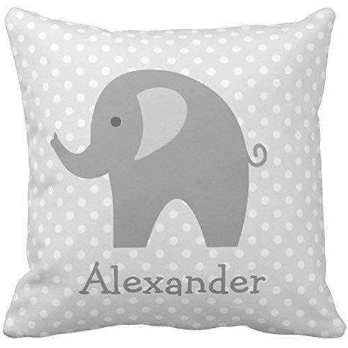 Cojines del sofá Animal Lindo Elefante Gris Personalizado para vivero Gris Bebé Funda de Almohada Decorativa Decoración para el hogar Funda de Almohada Cuadrada 45X45 cm