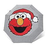 SES-Ame Street Elmo Sombrero de Navidad Resistente al Viento, Compacto, Apertura automática y Cierre Plegable, Paraguas de Viaje Plegable automático