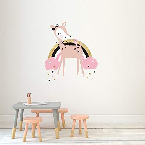 JXAA Pink Fawn Elk Rainbow Wandaufkleber Kinderzimmer Schlafzimmer Wohnzimmer Kindergarten Selbstklebende Papiertapete 30 * 34 cm