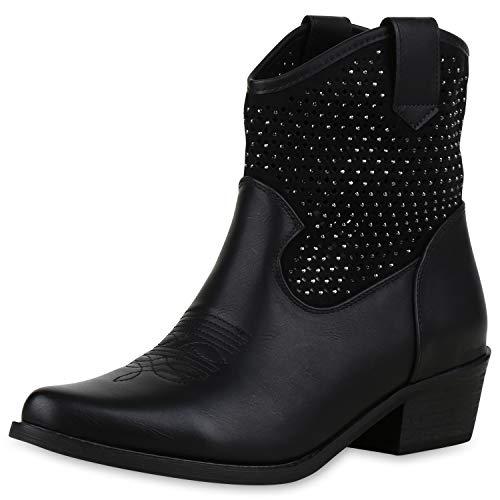 SCARPE VITA Damen Stiefeletten Cowboy Boots Strass Western Cowboystiefel 180111 Schwarz 38