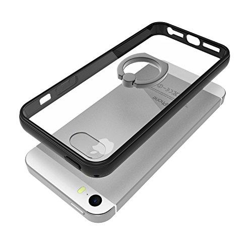 JETech Coque iPhone SE 5s 5 [Rotation Intégrée Bague de Serrage Support] Case Housse Etui avec Rotation Bague Shock-Absorption Bumper et Anti-Scratch Effacer Back pour Apple iPhone SE / 5s / 5 (HD Cla Noir