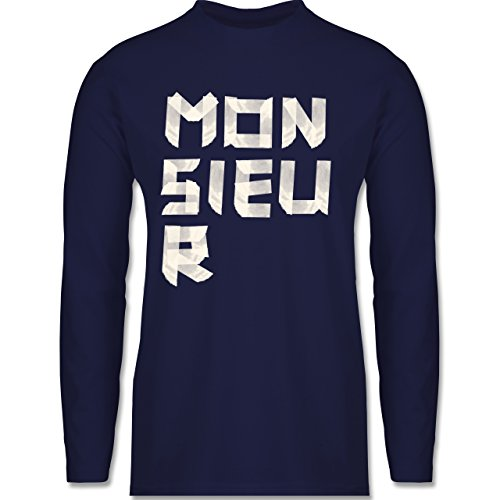Statement Shirts - Monsieur Klebestreifen - Longsleeve / langärmeliges T-Shirt für Herren Navy Blau