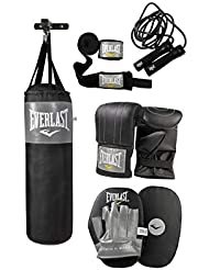 Everlast Men's Boxing Hanging Punch Bag Set with Gloves, Jab Pads and Wall Bracket, Black/Grey, One size