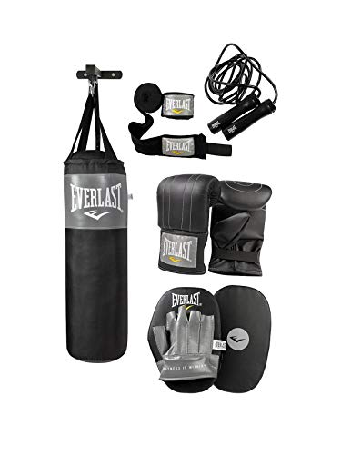 Everlast Set 6-teilig | Boxsack (gefüllt) | Boxhandschuhe | Pratzen | Deckenhalterung | Springseil | Boxbandage, Schwarz, Box