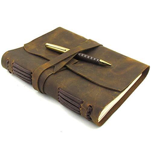 LEDER NOTIZBUCH A5 TAGEBUCH JOURNAL - Antikes Vintage Handgemachtes ledergebundenes Notizbuch für Sie und Ihn zum Travel Schreiben - 21x15cm Perfektes Geschenk für Skizzenbuch oder Reisetagebuch