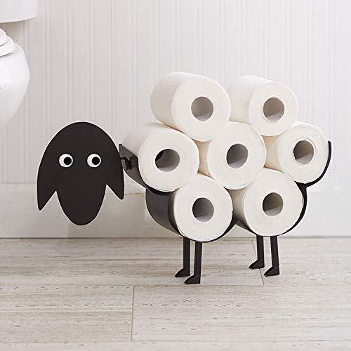 HomeZone Toilettenpapierhalter/Toilettenpapierhalter aus Metall, Schaf-Design, für bis zu 7 Rollen, schneller Zugriff