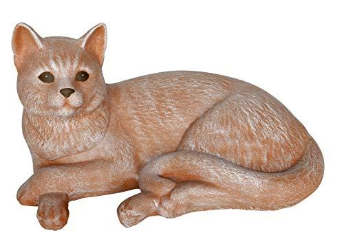 Steinfigur Katze liegend groß - Terrakotta, Garten, Deko, Stein, Figur, Frostsicher