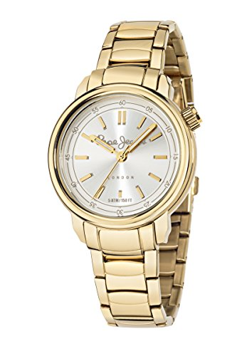 Pepe Jeans Sally Women's Quartz Watch with Silver Dial Analogue Display and Gold Stainless Steel Strap R2353117501