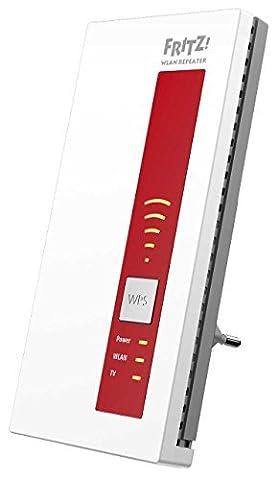 AVM FRITZ!WLAN Repeater DVB-C (Dual-Tuner für Kabel-TV (DVB-C), WLAN AC + N bis zu 1.300 MBit/s (5 GHz) + 450MBit/s (2,4 GHz)), weiß, deutschsprachige