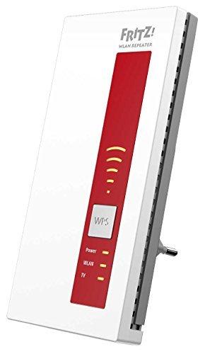 AVM FRITZ!WLAN Repeater DVB-C (Dual-Tuner für Kabel-TV (DVB-C), WLAN AC + N bis zu 1.300 MBit/s (5 GHz) + 450MBit/s (2,4 GHz)), geeignet für Deutschland