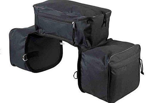 Dreifach Packtasche 600D wasserdichtes Polyester Material, 4 Ringe | Satteltasche mit 3 Taschen schwarz