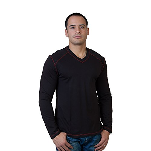 Steven Craig Men's Long Sleeve V-Neck Tee with Trim Black