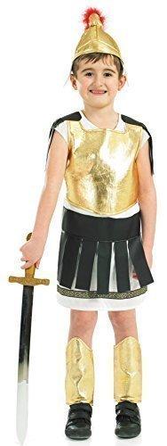 Jungen 4 Teile Römische Kriegerin Soldaten Gladiator Kostüm Kleid Outfit 4-12 jahre - Gold, 8-10 Years