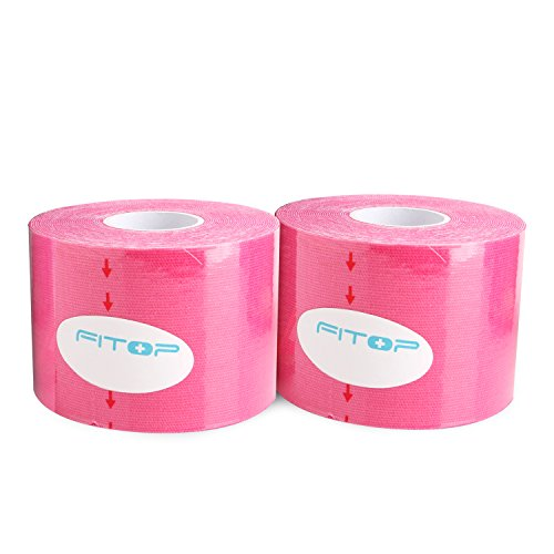 2x FITOP Kinesiologie Tape Elastisches Klebeband 5m x 5cm (Pink)