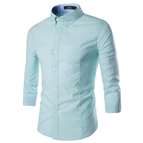 Men's Fashion Trim Slim Fit Three Quarter Sleeve Shirts green
