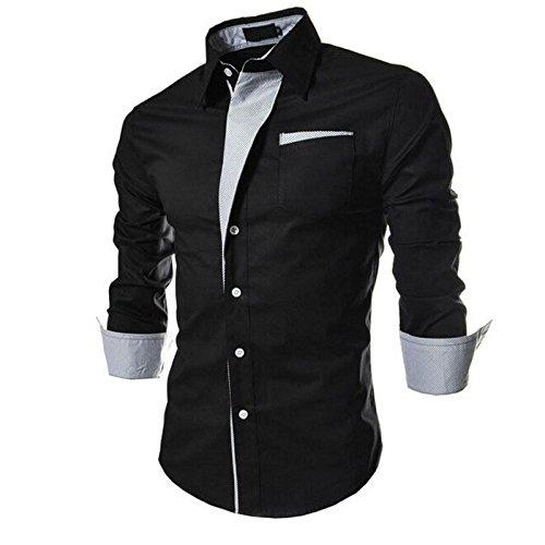 PEARL OCEAN Men\'s Slim Fit Casual Shirt (N1-R5Y8-61DY_Black_42)