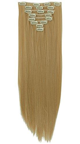 Extension capelli a clip 58cm lunghi lisci bionde dorato 8pezzi full head hair extensions effetto naturale