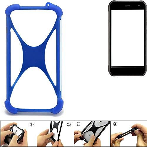 K-S-Trade Handyhülle für Cyrus CS 40 Silikon Schutz Hülle Cover Case Bumper Silikoncase TPU Softcase Schutzhülle Smartphone Stoßschutz, blau (1x)