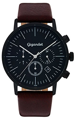 Gigandet Quartz Men's Watch Minimalism III Dual Time Date Analog Leather Wrist Watch Strap Black/Brown G22 004