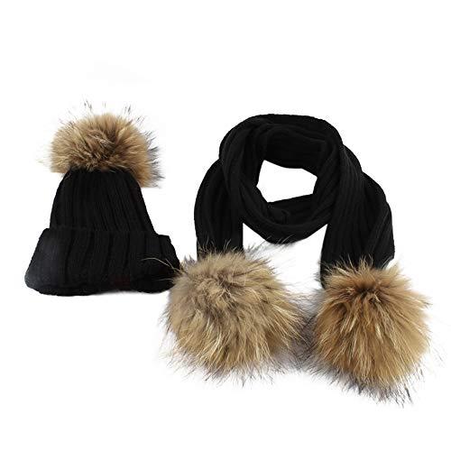 Longra ☂☂☞☞❤❤✈✈Gorro de Punto de Invierno niño Gorro Bola de Pelo Kids Hat Cap + Bufanda
