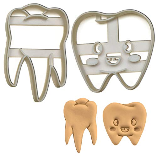 Bakerlogy 2er Set Zähne Ausstechformen (Formen: Naturgetreuer Zahn und Niedlicher Zahn), 2 Teile