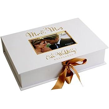WEDDING DAY MR /& MRS ALWAYS FOREVER PHOTO FRAME GOLD WHITE PRESENT GIFT BOXED