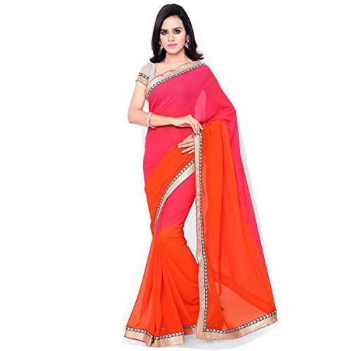 Muta Fashions Georgette Red New Arrival Girl's Saree ( MUTA241_Free Size_Red )