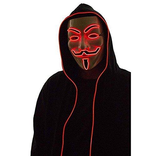 Maske LED Luminous blinkende Gesichtsmaske Anonym Halloween Cosplay Kost¨¹m Masken liefert (Purge-maske Halloween)