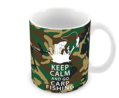 Funny Mugs Camouflage Keep Calm and Go Carp Fishing With Angler Coffee Tea Cup Work Mugs Fishing Gifts. from total-tees