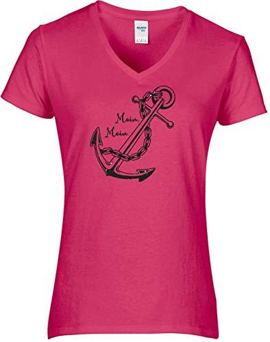 BlingelingShirts Shirt Damen Glitzer großer Anker mit Moin Moin Schriftzug Hamburg maritim Anchor, T-Shirt, Grösse L, pink