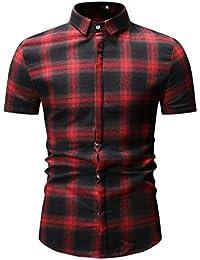 98f4eeb219678 Worsworthy Camisa a Cuadros Grande para Hombre Camiseta de Verano Camisa  Delgada de Manga Corta Ocasional Top…