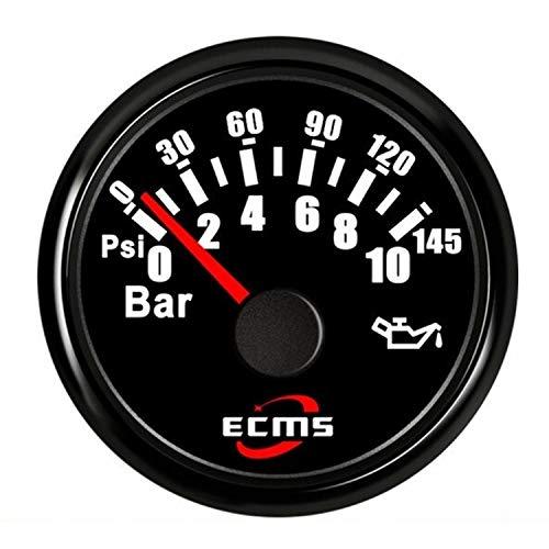 HH-Sensor Sensore Indicatore del misuratore di Pressione Olio Motore Marino da 52mm 2 '' 0-10bar 0-145Psi 12V 24V con retroilluminazio