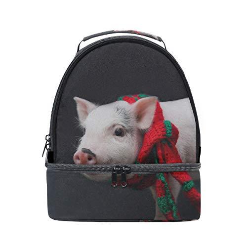 Lunchpaket Tote Dressed Schal Piggy Pig School Shoulder Lunchpaket Double Lunch Box Isolierte Kühler Für Frauen Student Outdoor Zip Lunchpaket Tote -