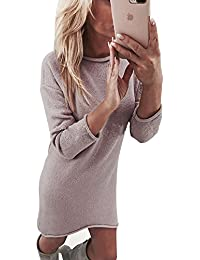 Yidarton Robe Pull Femme Manches Longues Robe d'Hiver en Tricot Elegant