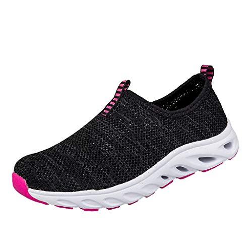 Fenverk Herren Damen Laufschuhe Atmungsaktiv Turnschuhe SchnüRer Sportschuhe Sneaker Fitness Leicht rutschfeste(Hot Pink,37 EU)