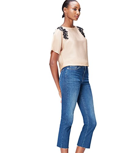 FIND Lace Trim Shoulder Blusa para Mujer, Beige (Champagne), 48 (Talla del Fabricante: XXX-Large)