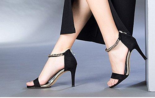 Chaîne creux été Dame de chaussures en daim peep-toe stiletto/Santals de haut talon C