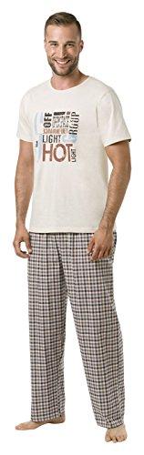 ENVIE Herren Schlafanzug Light Shot Group mit T-Shirt und Lange Hose 100% Baumwolle Pyjama für Männer, Cream/Brown, XL