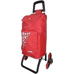 caddie Poussette de marché 50 L SALSA Isotherme 3 Roues coloris Rouge
