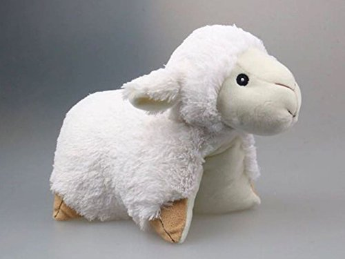 2 in 1 Schäfchen Plüschtier und Kissen von evo-cative, süßes Kinder-Kuschelkissen zum spielen, kuscheln, schlafen und lieb haben (Schaf)