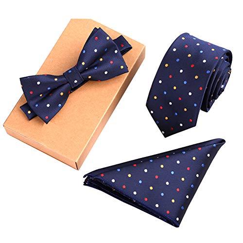 Chinashow Modische Premium Formale/informellen Krawatten Set, Krawatte/Fliege/Einstecktuch für Herren/Jungen, Bunte Punkte