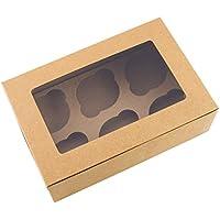 Cajas de color marrón para magdalenas, capacidad para 6pasteles (10 unidades)