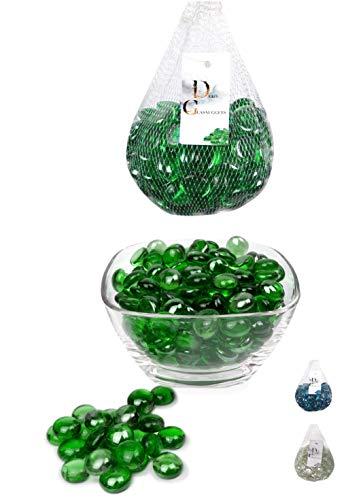 Erment-Hübsche Glasnuggets, Glas Dekosteine, Muggelsteine, Vasenfüller - 800 g (Neu) (grün)
