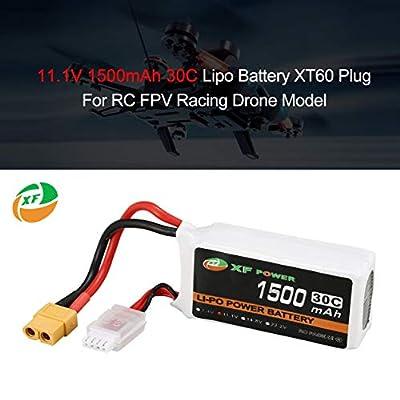 Dailyinshop XF POWER 11.1V 1500mAh 30C 3S Lipo Battery XT60 Plug For RC FPV Drone Model white & black