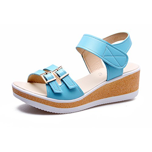 Estate Sandali Sandali da donna Primavera / Estate / Piattaforma di pioggia / Sandali Party & Evening / Vestito / Casual Wedge HeelBuckle Colore / formato facoltativo Blu
