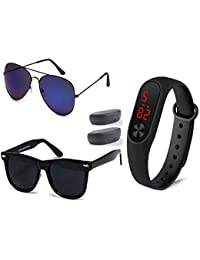 New Arrival Special Collection of Festive Seasons Black Color Unisex Silicone Rubber Touch Screen Digital Watch LED Band Wrist Watch Sunglasses Combo Ideal for Boys, Girls, Men, Women (3IN1-0050)