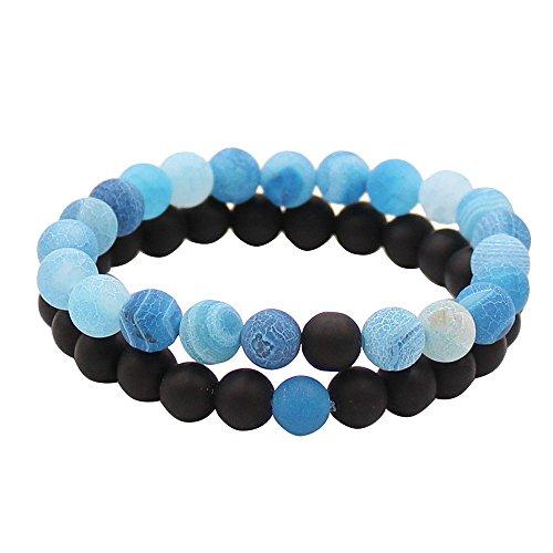 couples-lui-et-elle-bracelet-noir-mat-agate-et-coloree-aux-intemperies-scrub-agate-perles-de-8-mm-pa