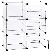 SONGMICS Shoe Rack, Modular Storage Shelving Unit, Cube Storage Cabinet, Interlocking Plastic Cubes, Divider Design, for Wardrobe, Closet, Bedroom, Kid