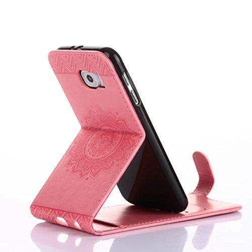 Samsung Galaxy S7 Case, Vertical Flip-Standplatz Fall Geprägte Blumen Muster Leder Fall Deckung mit Wallet-Card Slots für Samsung Galaxy S7 ( Color : Pink , Size : Samsung Galaxy S7 ) Rose
